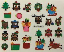 Nail Art 3D Decal Stickers Owls Christmas Reindeer Presents Wreath QJ-3D-892