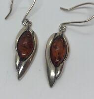 Vintage Sterling Silver Earrings 925 Drop Dangle Baltic Amber