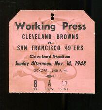 1948 Browns v 49ers Press Pass Ticket 11/14/48 Cleveland Stadium AAFC 24620