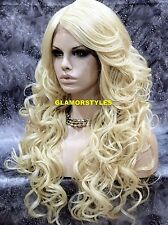 "33"" Wavy Layered Bleach Blonde Full Lace Front Wig Heat Ok Hair piece #613 NWT"
