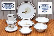 Vintage Noritake Stoneware Moon Flight Design B971 9 Piece Place Setting Japan