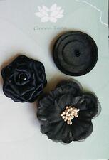 Flowers 3 BLACK Mixed Designs Pack Fabric-Satin & Lace 4-6 cm across Green Tara