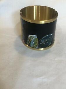 Brahmin  Cuff Bracelet Melbourne Brushed Gold Hardware black floral