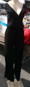 Women's Sleeveless V-Neck Jumpsuit - A New Day-Black- M-NWT