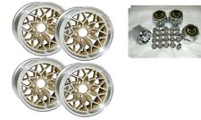 TRANS AM 15X8 ALUMINUM SNOWFLAKE WHEELS WITH CENTER CAPS & LUG NUTS GOLD WS6