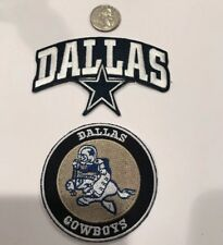 """2 - Dallas Cowboys vintage embroidered iron on Patches 4""""x 2 1/2"""" &  3""""x 3"""""""