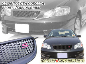 Sport Red S Front Bumper Hood Grille (ABS) Fits 05-06 Toyota Corolla