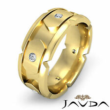 Round Diamond Mens Eternity Unique Wedding Band 8.5mm Ring 18k Yellow Gold 0.4Ct