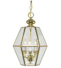 Polished Brass And Clear Beveled Glass Pendant/Chandelier