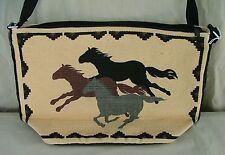 Purse Western Design Running Mustangs Cotton Stencil Shoulder Strap Zipper Close