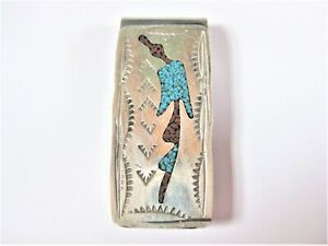 Money Clip With Turquoise And Carnelian, 18,32 G