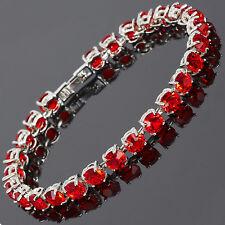 Sarotta Jewelry Fashion Women Jewelry Round Cut Red Ruby Dainty Tennis Bracelet