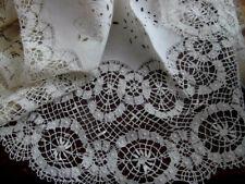 "Antique 28"" Centerpiece Round Topper Cutwork Doily~Handmade Wide Bobbin Lace"