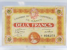 1918 FRANCE Chambre de Commerce de Nancy DEUX/ TWO FRANCS **LOCALLY ISSUED**