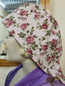 Scrub/theatre/surgical hat for nurses.  Delicate Roses. 100% Cotton made by me.