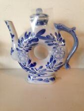 Blue white Chinese donut tea pot