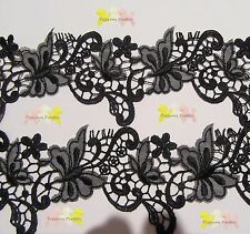 1 Metre x 6.8 cm wide Pretty Black Butterfly Embroidery Mesh Tulle Lace Trim