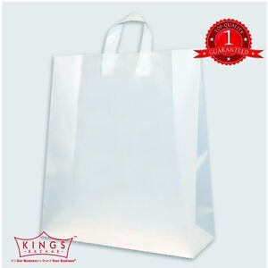 White Plastic Carrier Bags Gift Shopping Takeaway Strong Plastic FLEXILOOP