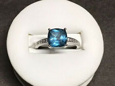 NOS S925 Sterling Silver Cushion 2ct London Blue Topaz & CZ Accent Ring Sz 7.5