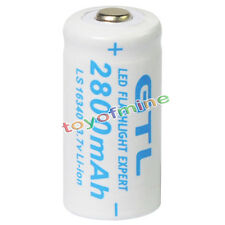 1x 3.7V CR123A 123A CR123 16340 2800mAh GTL Rechargeable Battery Cell White