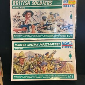 ESCI WWII BRITISH SOLDIERS & RUSSIAN PARATROOPERS SPETSNAZ x2 BOXED SEALED
