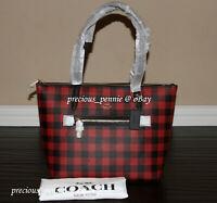 💚 Coach Gingham Print Taylor Tote Buffalo Plaid Checks Bag Handbag Purse Red