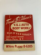 Vintage Extra Large Unused Matchbook Colucci's Autobody Cars Writing Matches NY