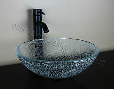 Bathroom Artistic Glass Vessel Vanity Sink Oil Rubbed Bronze Faucet A4E3