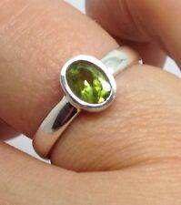 Real Peridot oval solid Sterling Silver ring, UK size L 1/2, Bezel Set. New.
