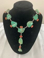 Jasper Drop Style Necklace american sterling silver turquoise