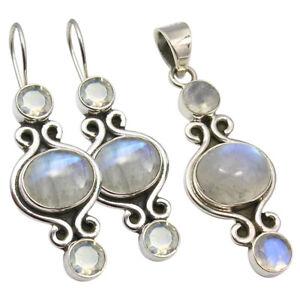 Free Jewelry Velvet Pouch, 925 Silver MOONSTONE Large Earrings Pendant Match Set