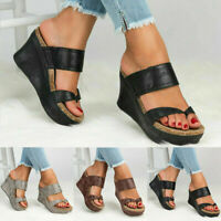 Womens Wedge High Heels Sandals Platform Summer Slip-On Mules Beach Casual Shoes