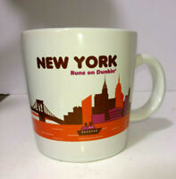 Dunkin Donuts Mug New York NY Runs On Dunkin DD 2013 Cup Glass Coffee Tea White