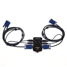 2 Port USB KVM VGA/SVGA Switch Box +Cables for Sharing PC Mouse Keyboard Monitor