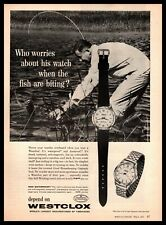 1960 Westclox Waterproof Self-Winding Watch Fly Fisherman Catching Fish Print Ad
