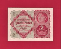 SCARCE ZWEI KRONEN 1922 AUSTRIA UNC UNIFACED NOTE (January 02 1922) - (Pick-74)