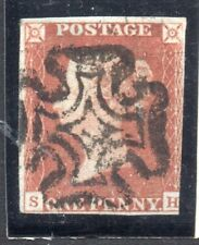 S.G. 7 ; One penny red from Black Plate Ten, Lettered, S. H.