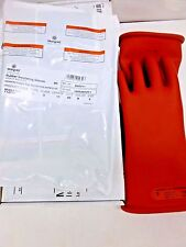 NEW!! MARIGOLD RED ELECTRICAL GLOVES, NATURAL RUBBER, CLASS 0 R 11, SIZE 9