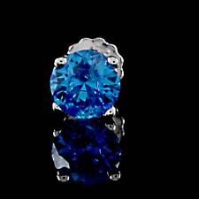 Summer Sale 1/2 Carat Blue Sapphire Single Stud Mens 14K White Gold Earrings