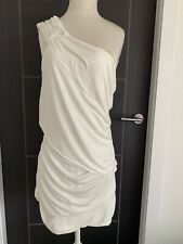 River Island Relax Urban Cream One Shoulder Ruched Dress - Size 12 BNWT RRP £27
