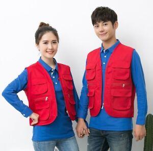 Women Men Volunteer Work Vest Jacket Tops Fashion Supermarket Overalls Clothes