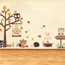 Rabbit Swing Wall Stickers Owl Bear Tree Wild Animlas World Kids Nursery Decor