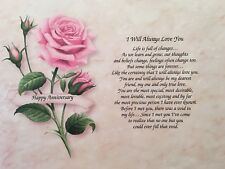 1st Anniversary Gift For Girlfriend I Will Always Love You Poem Gift For Her