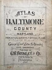 1898 BALTIMORE COUNTY MARYLAND G.W. BROMLEY TITLE PAGE ATLAS MAP