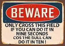 ATTENTION signal métallique Bulldog CANETTE CROIX This Champ en dix vintage