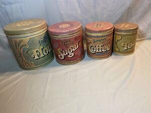 VTG 1979 Metal / Tin Canister Set - Flour Sugar Coffee Tea