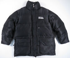 VINTAGE 90S FIRST DOWN BLACK FULL ZIP WINTER PUFFER JACKET COAT SNOW MENS M