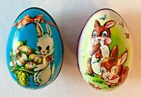 Tin lithograph Easter Eggs Murray Allen Hong Kong Vintage lot of 2 Bunny Rabbit