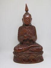 Teak Wood Buddha Statue Thai Sculpture Carved Art Shelf Stand Asian Buddhism