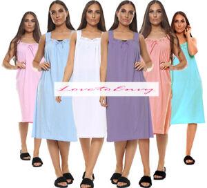 Ladies Plain 100% COTTON Rich Sleeveless Night Dress Night Shirt Nightie